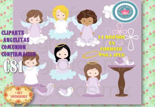 kit imprimible clipart angelitas angeles comunion nenas niña