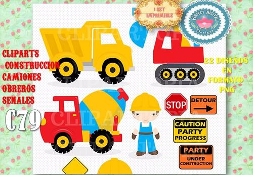 kit imprimible clipart construcciòn maquinaria camion obrero