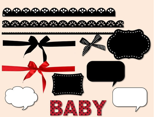 kit imprimible clipart mariquita coquito baby shower