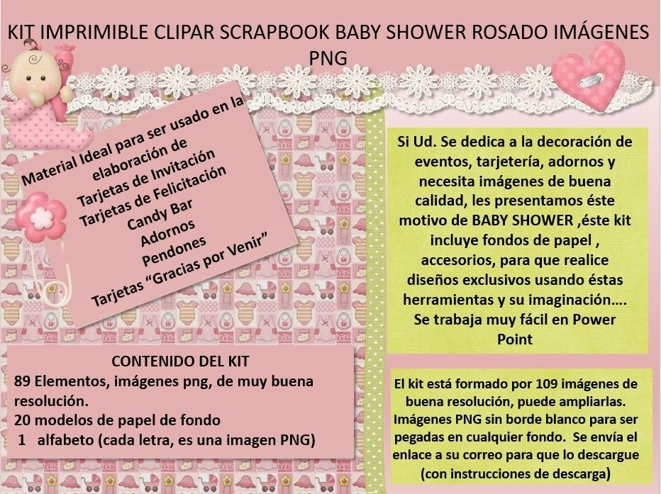 7dbbdd8b9501b Kit Imprimible Clipart Scrapbook Baby Shower Rosa Png - Bs. 501