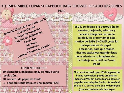 kit imprimible clipart scrapbook baby shower rosa png