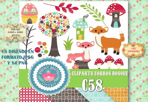 kit imprimible clipart y fondos zorros bosque hongos scrap