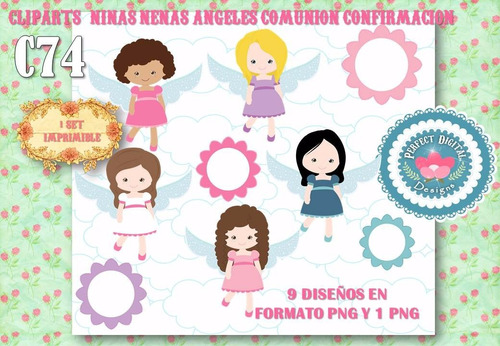 kit imprimible cliparts nenas niñas angelitas comunion scrap