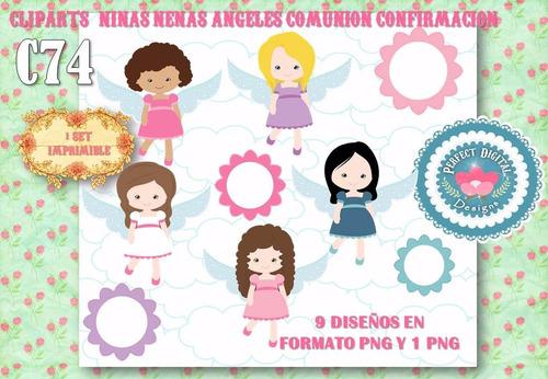kit imprimible cliparts nenas niñas angelitas confirmaciòn