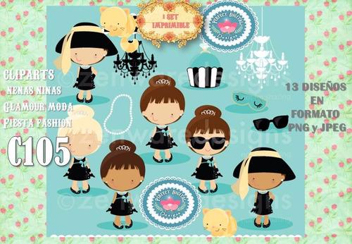kit imprimible cliparts niñas nenas glamour fashion gala top
