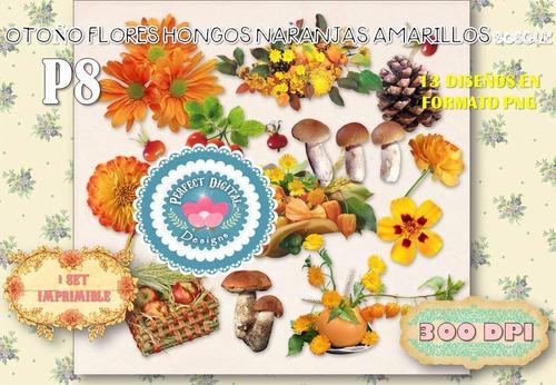kit imprimible cliparts otoño bosque hongos collage imagenes