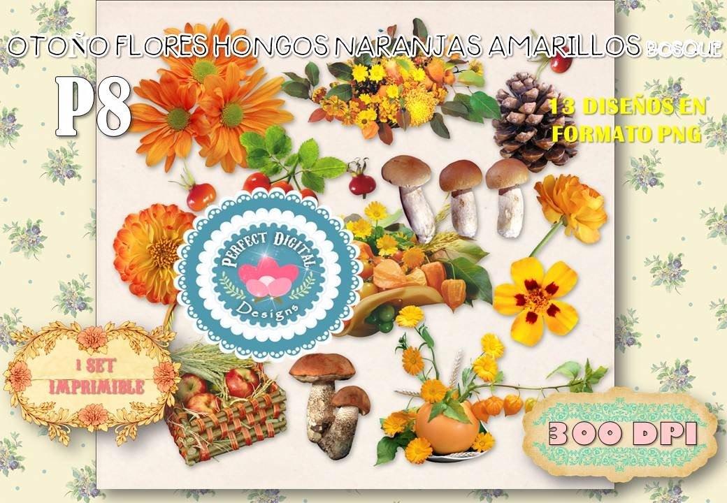 Kit Imprimible Cliparts Otono Bosque Hongos Flores Naranjas 173