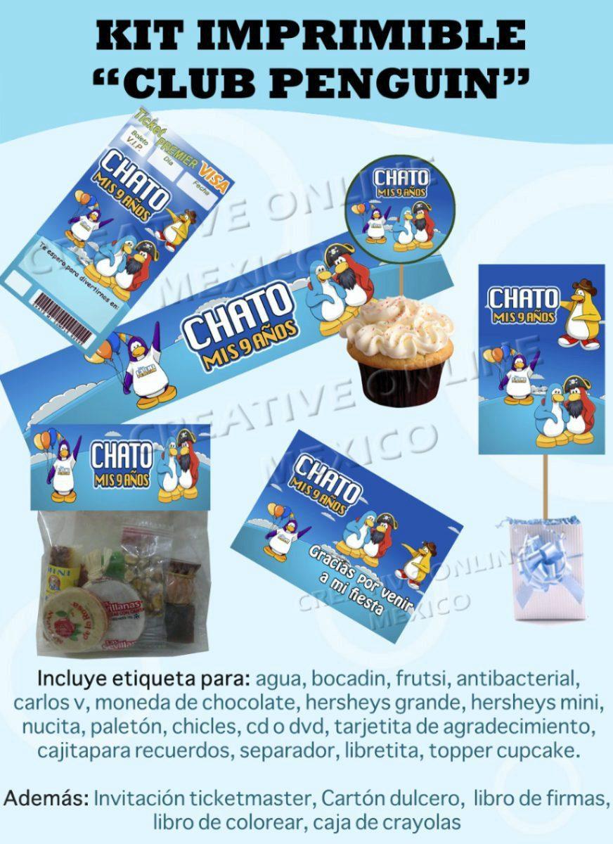 Kit Imprimible Club Penguin Fiesta Cumple Tarjetas Invitacio ...