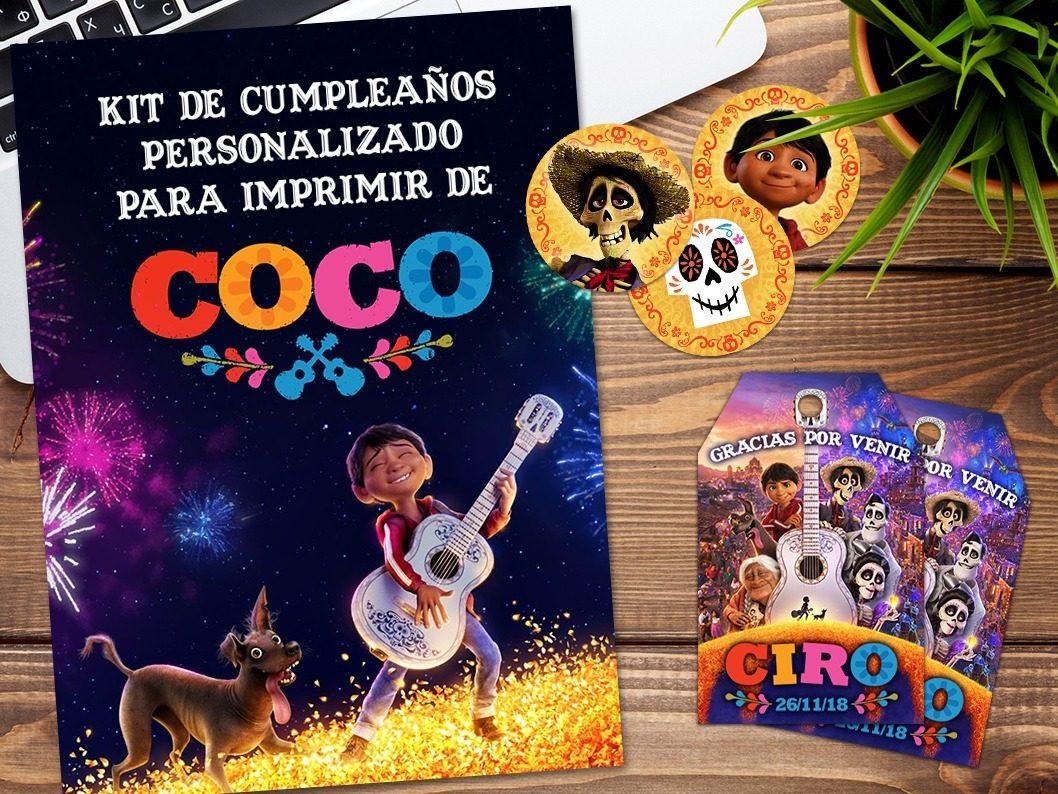 Kit Imprimible Coco Disney Pixar Personalizado Cumpleaños - $ 349,00 ...