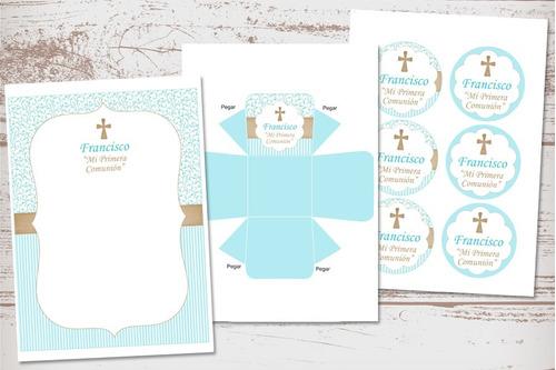 kit imprimible comunión confirmación nene varón celeste cruz