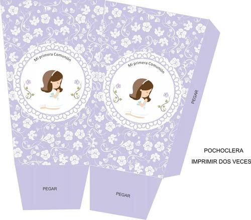 kit imprimible comunión nena flores textos editables 2x1