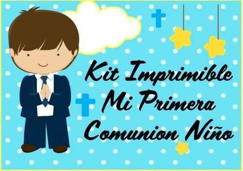 Kit Imprimible Comunion Niño Tarjetas Candy Bar Cotillon 3x1 ...