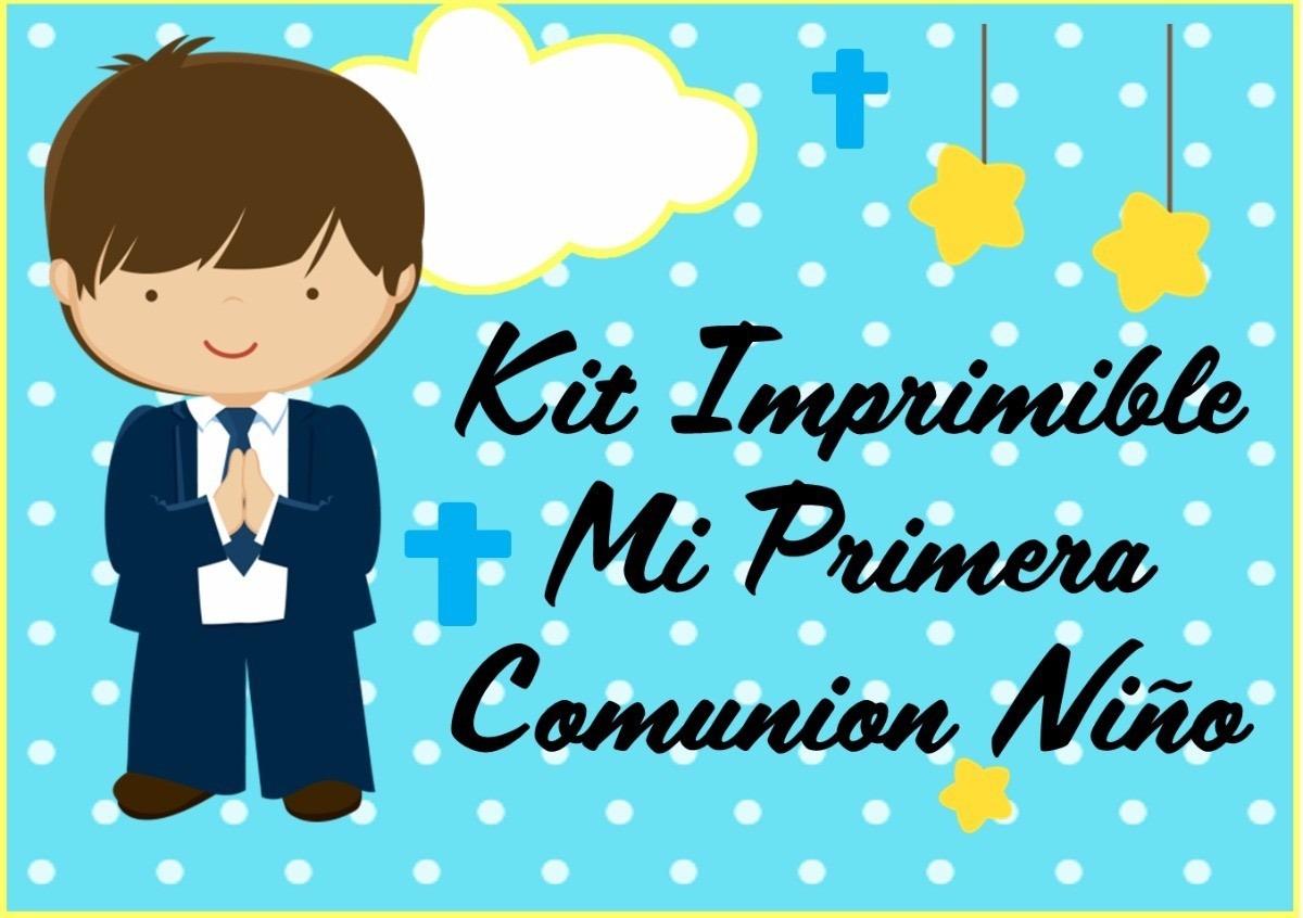 Kit Imprimible Comunion Niño Tarjetas Candy Bar Cotillon
