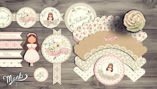 kit imprimible comunión romántico shabby chic flores niñas