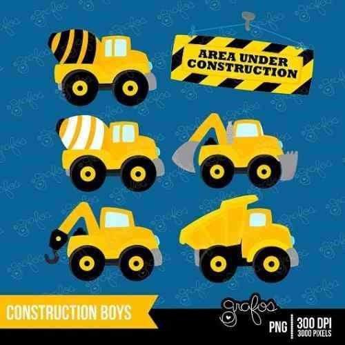 kit imprimible construccion camiones 3 imagenes clipart