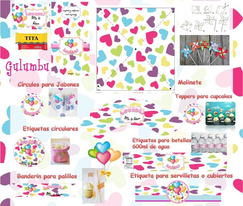 Kit Imprimible Corazones Color Candy Bar Golosinas Editable - $ 65 ...