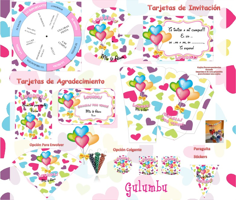 Kit Imprimible Corazones Color Candy Bar Golosinas Editable - $ 65 ...
