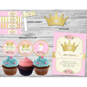 Kit Imprimible Corona Dorada Nena Princesa Candy Bar Coronit
