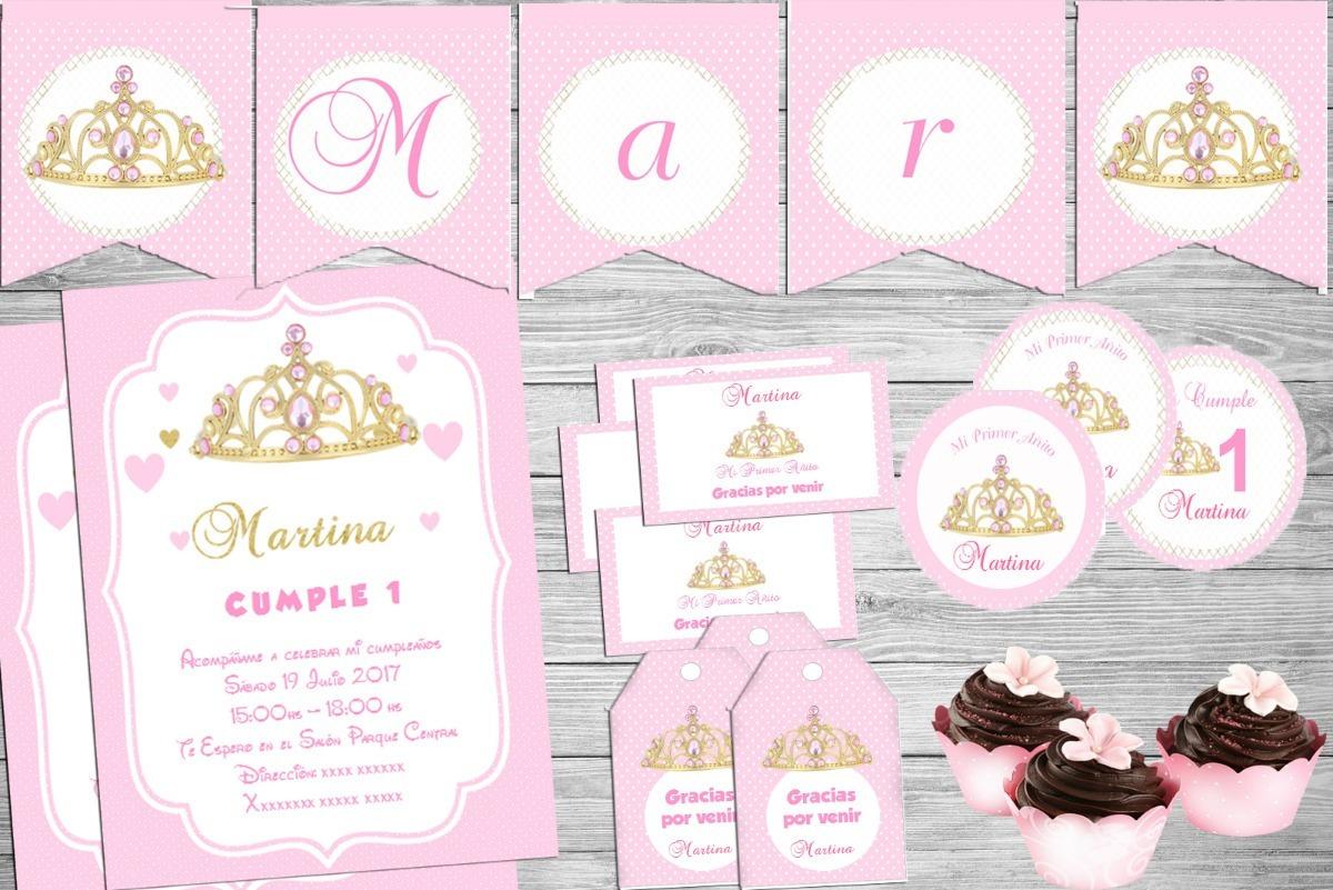 Kit Imprimible Corona Princesa Dorado Con Rosa Cotillón - $ 4.000 en ...