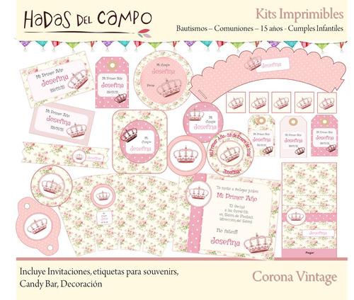 kit imprimible corona vintage deco cumples bautismo comunion