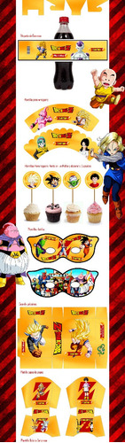 kit imprimible+cotillon+souvenirs+candy bar dragon ball z
