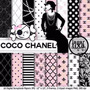 Kit Imprimible Pack Fondos Coco Chanel Clipart