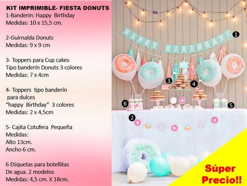 kit imprimible cumpleaños donas, cumpleaños donuts