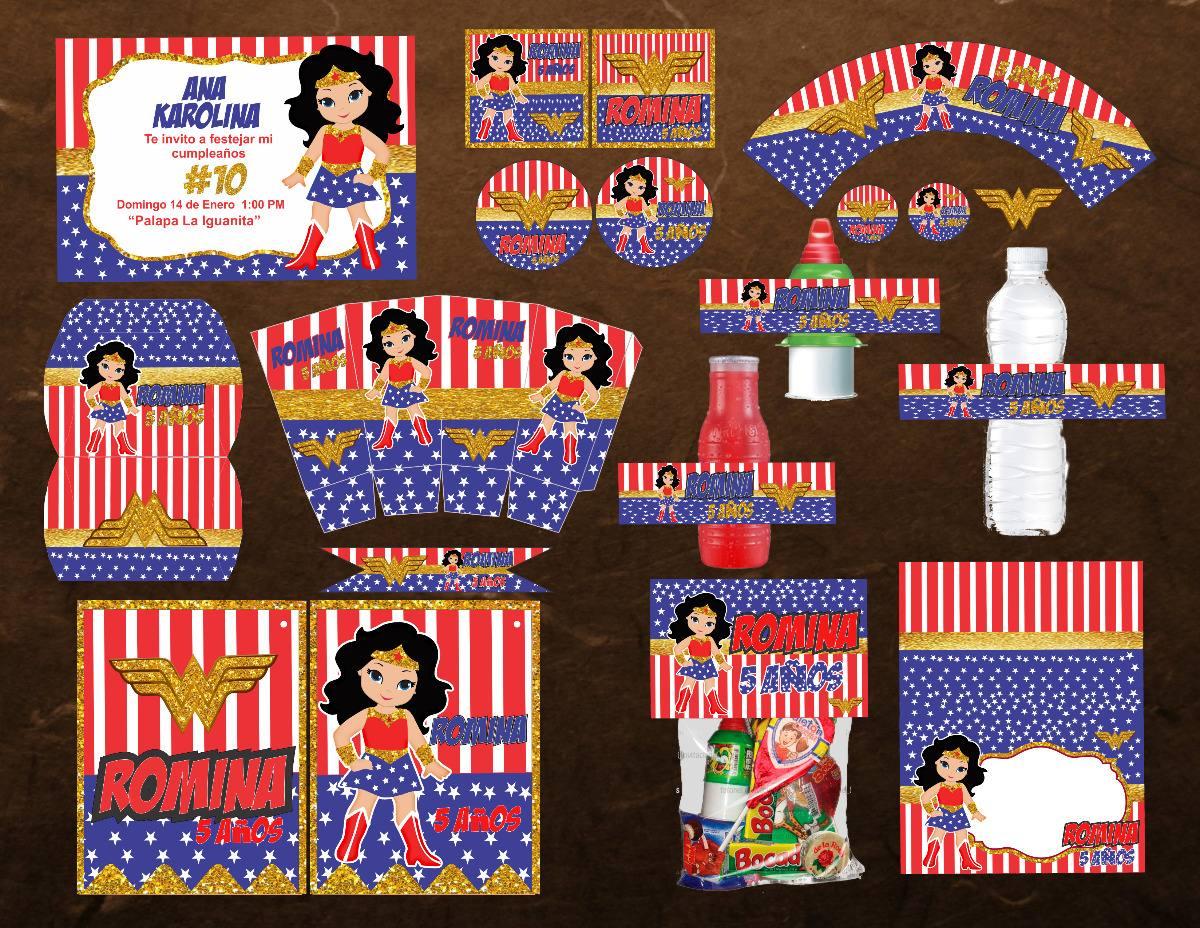 Kit Imprimible Cumpleaños Invitacion Mujer Maravilla $ 180 00 en Mercado Libre