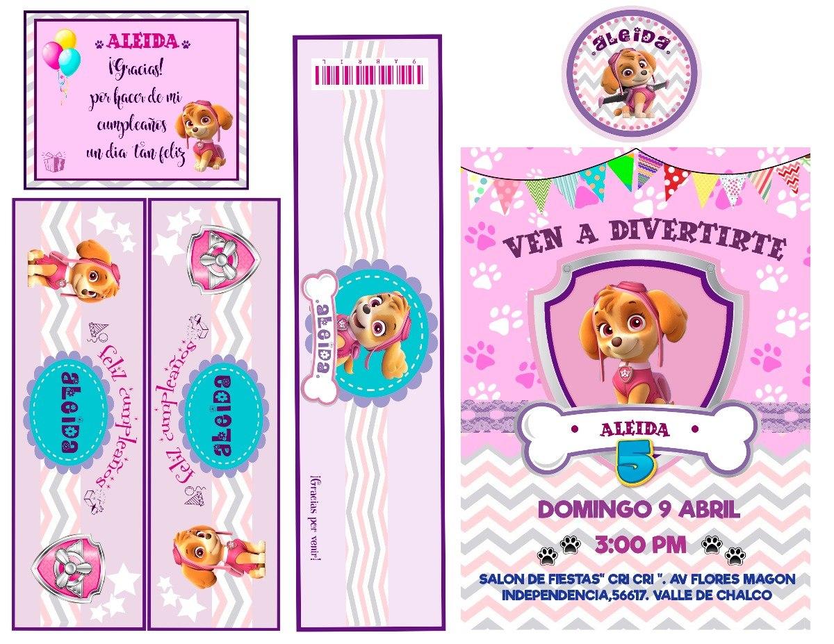 Kit Imprimible Cumpleanos Paw Patrol Nina 100 00 En Mercado Libre