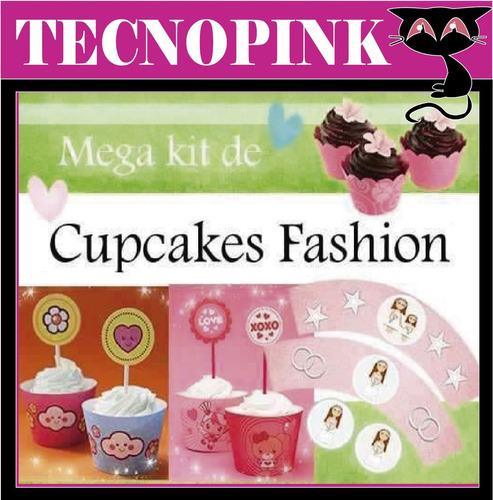 kit imprimible cupcake fashion + regalo (2 x 1)
