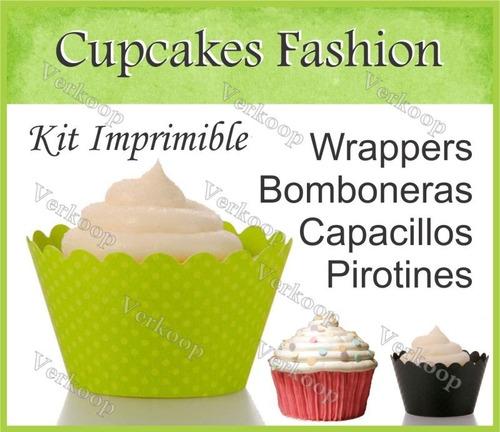 kit imprimible cupcakes fashion diseños imprimibles fiesta c
