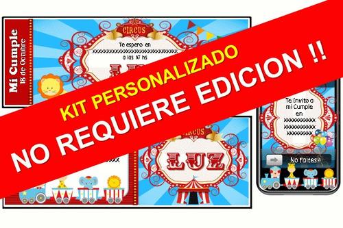 kit imprimible de circo personalizado 100%