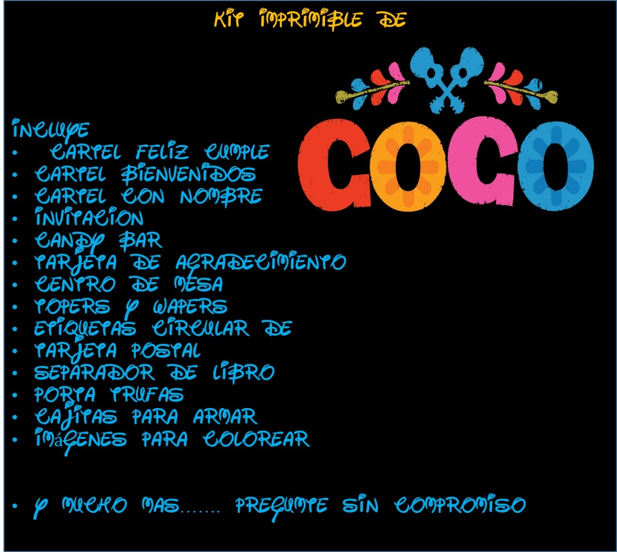Kit Imprimible De Coco Disney - $ 5.000 en Mercado Libre