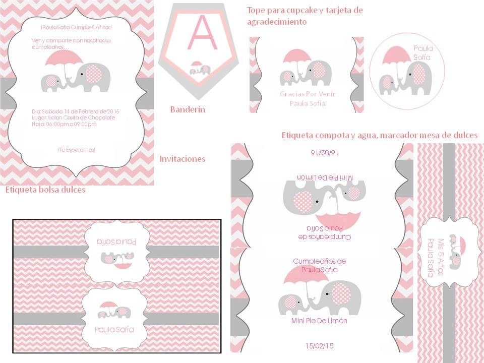 Kit Imprimible De Elefantes Para Cumpleanos Y Baby Showers Bs 500