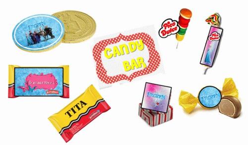 kit imprimible de frozen: candy bar, decoracion, banderin