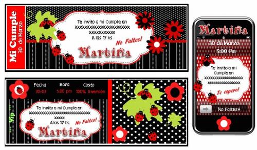 kit imprimible de mariquita: candy, deco, torta, banderin