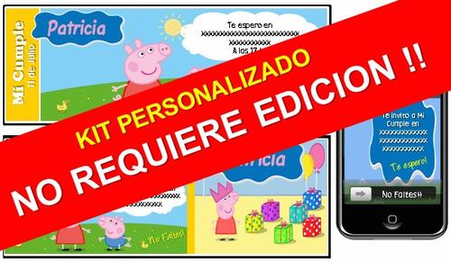 kit imprimible de peppa pig 100% personalizado