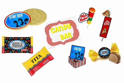 kit imprimible de star trek: candy, deco, banderines, torta