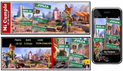 kit imprimible de zootopia 100% personalizado