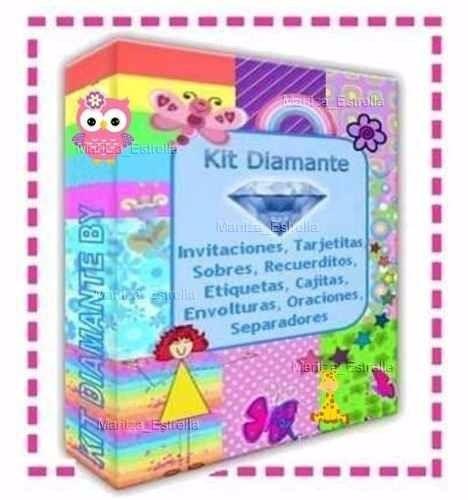 kit imprimible diamante patrones cajas cotillones invitacion