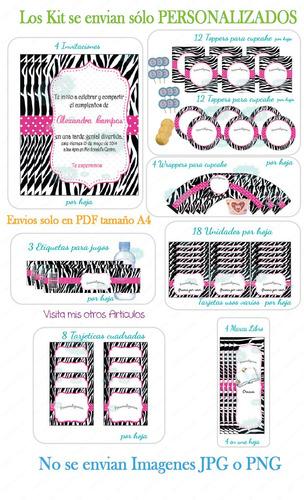 kit imprimible digital fiesta animal print personalizado