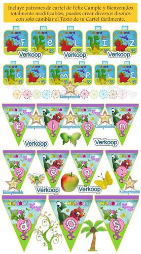 kit imprimible dinosaurios bebes niño (a) + candy bar fiesta