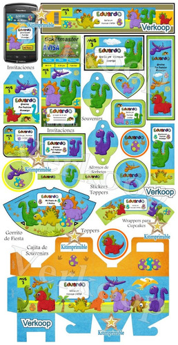 kit imprimible dinosaurios bebes niño (a) + candy bar fiesta