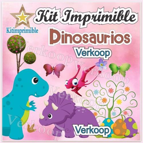 kit imprimible dinosaurios + candy bar invitaciones fiesta
