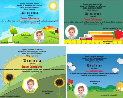 kit imprimible diplomas escolares con fotos preescolar