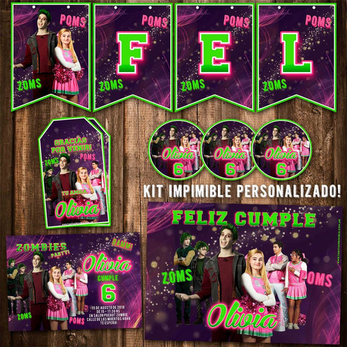 kit imprimible disney zombies candy bar personalizado