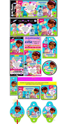 kit imprimible doctora juguetes candy bar golosinas cod03