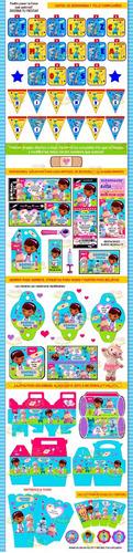 kit imprimible doctora juguetes candy bar invitaciones