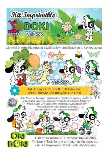 kit imprimible doki + candy bar invitaciones fiesta editable