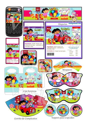 kit imprimible dora la exploradora invitaciones tarjetas box